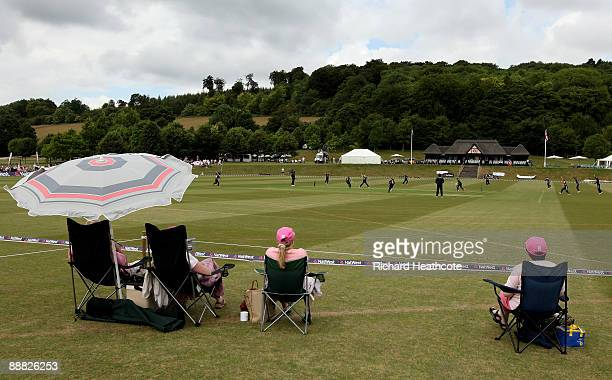 Spectators watch on as England claim an early wicket during the One Day International match between England Women and Australia Women at Wormsley...