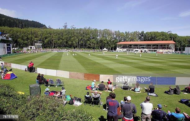 Spectators watch on day one at the University Oval which is hosting a cricket Test match for the first time between New Zealand and Bangladesh in...