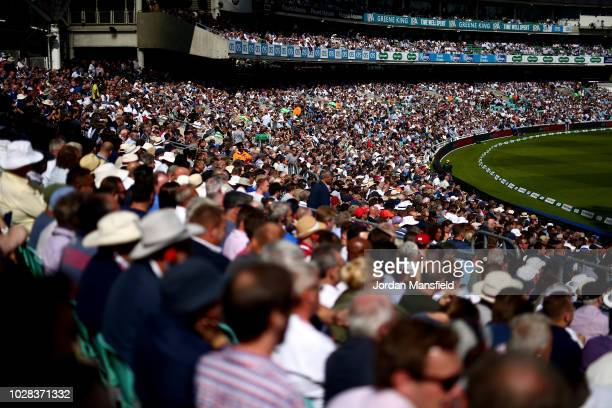 Spectators watch on during day one of the Specsavers 5th Test match between England and India at The Kia Oval on September 7, 2018 in London, England.