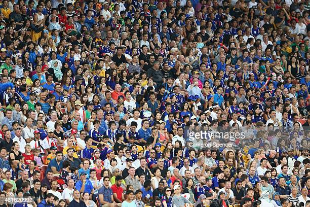 Spectators watch on during the 2015 Asian Cup match between Iraq and Japan at Suncorp Stadium on January 16 2015 in Brisbane Australia