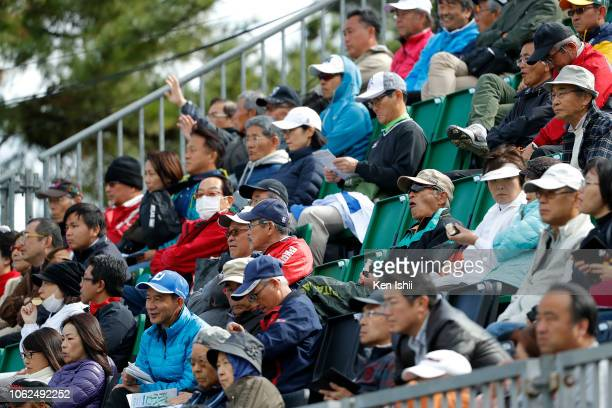 Spectators watch on during the first round of the TOTO Japan Classic at Seta Golf Course on November 02 2018 in Otsu Shiga Japan