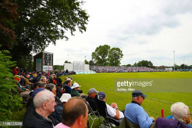 Spectators watch play during the Specsavers County Championship Division one match between Yorkshire and Warwickshire at on June 18 2019 in York...