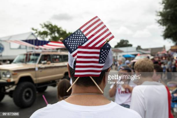 Spectators watch the 168th annual Round Top Fourth of July Parade on July 4, 2018 in Round Top, Texas. The Round Top community's Fourth of July...