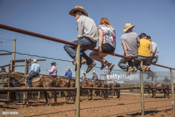 Spectators watch the action at the annual Windorah rodeo in central Queensland, Australia.