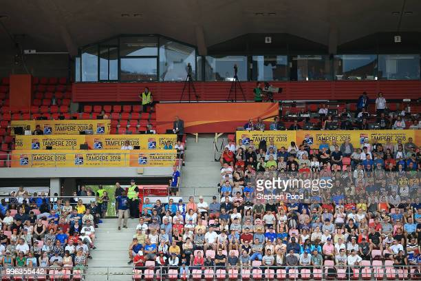 Spectators watch the action during day two of The IAAF World U20 Championships on July 11 2018 in Tampere Finland