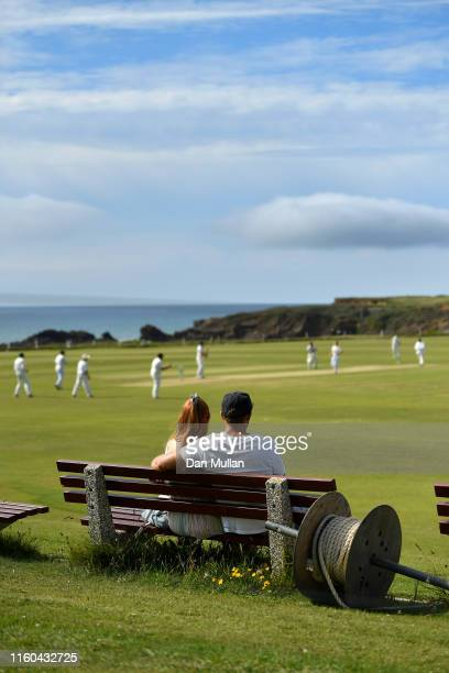 Spectators watch the action during the Cornwall Cricket League Division 2 East match between Bude CC and Menheniot/Looe CC at Crooklets Cricket...