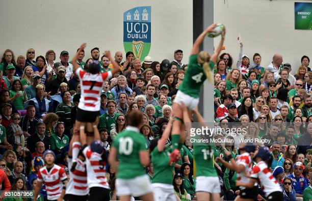 Spectators watch the action during the Women's Rugby World Cup 2017 match between Ireland and Japan on August 13 2017 in Dublin Ireland
