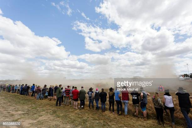 Spectators watch the 'Circle Work' Ute competition at the 2017 Deni Ute Muster on September 29 2017 in Deniliquin Australia The annual Deniliquin Ute...