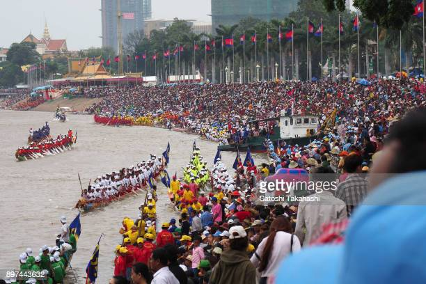 Spectators watch the closing ceremony of the Water Festival boat race The country's annual threeday Water Festival celebrates the end of the rainy...