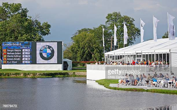 Spectators watch the game at during the second round of the BMW Championship the third event of the new PGA TOUR Playoffs for the FedExCup at Cog...