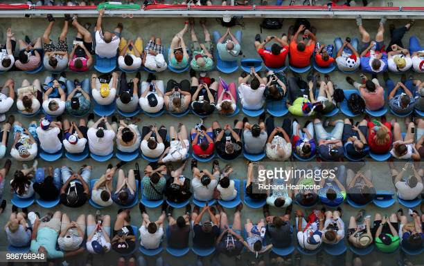 Spectators watch the game during the 2018 FIFA World Cup Russia group H match between Japan and Poland at Volgograd Arena on June 28, 2018 in...