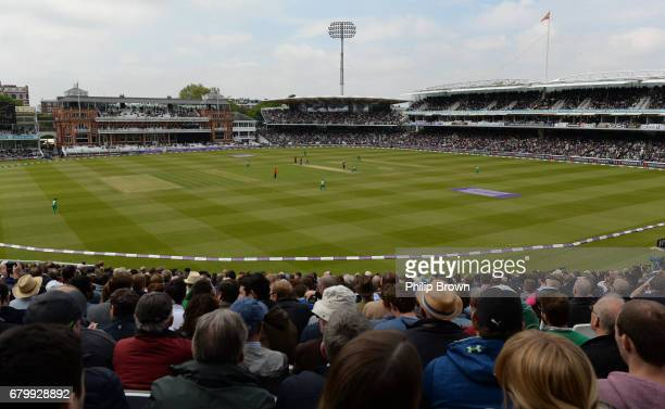 Spectators watch the match from the Edrich stand during the 2nd Royal London oneday international cricket match between England and Ireland at Lord's...