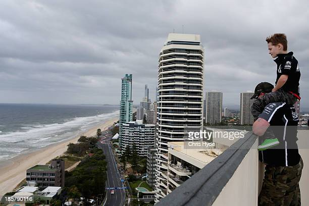 Spectators watch the practice for the Gold Coast 600 which is round 12 of the V8 Supercars Championship Series at the Surfers Paradise Street Circuit...
