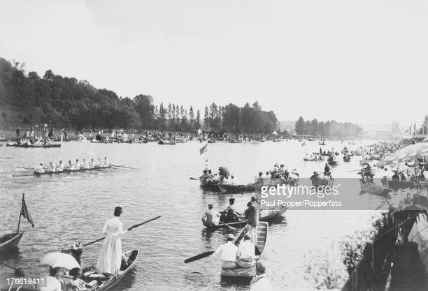 Spectators watch the racing from their boats during Henley Royal Regatta on the Thames Oxfordshire 1890