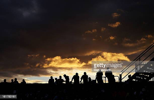 Spectators watch the stand during the NRL trial match between the Wests Tigers and the Parramatta Eels at Campbelltown Sports Stadium on February 16,...