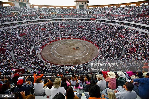 Spectators watching a bullfight in a bullring, Plaza De Toros San Marcos, Aguascalientes, Mexico