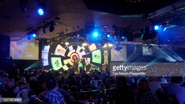 Spectators watching a men's first round match on Day Two of the BDO Lakeside World Darts Championships at Lakeside Country Club ion January 7 2018 in...