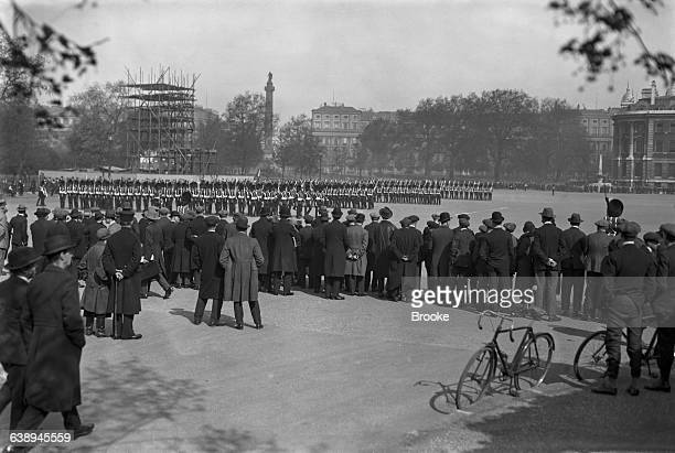 Spectators watching a morning rehearsal of the Trooping the Colour ceremony at Horse Guards parade London 3rd May 1926