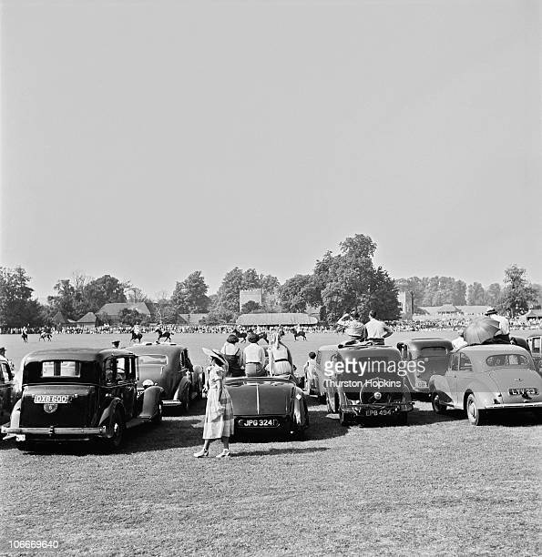 Spectators watching a polo match at Cowdray Park, West Sussex, 1951. Original publication: Picture Post - 5522 - Polo For The Not-So-Rich - unpub.