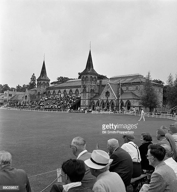 Spectators watching Gloucestershire playing a county cricket match at the Cheltenham College ground circa 1970