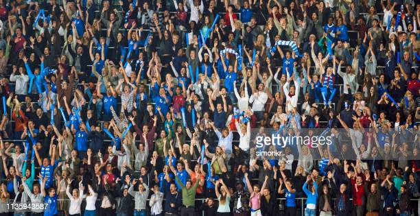 spectators watching match in stadium - crowd stock pictures, royalty-free photos & images