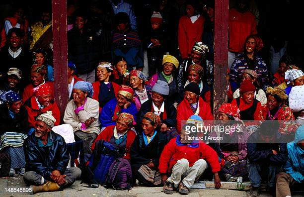 spectators watching performance at mani rimdu festival. - mani rimdu festival stock pictures, royalty-free photos & images