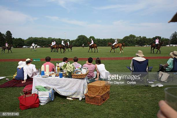 Spectators watching the action during the White Birch Vs KIG Polo match in the Butler Handicap Tournament match at the Greenwich Polo Club White...