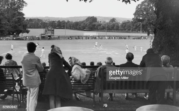 Spectators watching the annual cricket match between the Eton and Harrow public schools played on the sixth-form ground at Harrow school, 9th July...