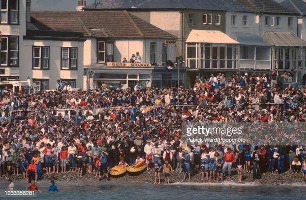 Spectators watching the Birdman Competition at Bognor Regis, circa August 2002.