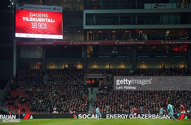 18901 spectators watching the the FIFA 2018 World Cup Qualifier match between Denmark and Kazakhstan at Telia Parken Stadium on November 11 2016 in...
