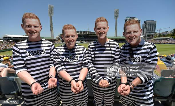 Spectators wearing Ben Stokes masks on the third day of the third Ashes cricket test match between Australia and England at the WACA on December 16...