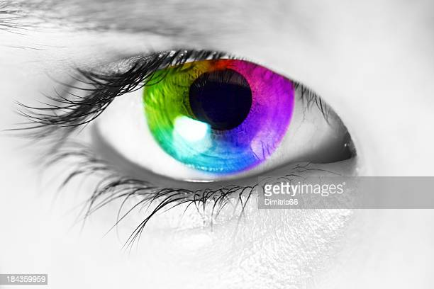 spectrum colors appearing in the iris of human eye - eyesight stock photos and pictures