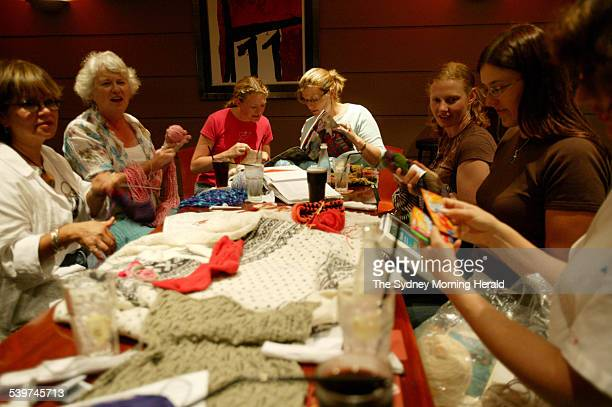 Spectrum Knitters Club in North Sydney Margot Egner Doris Gordon Kim Crawford Lisa Gordon Meg Sawyer Lyndal Harrison 24 January 2006 SMH Picture by...