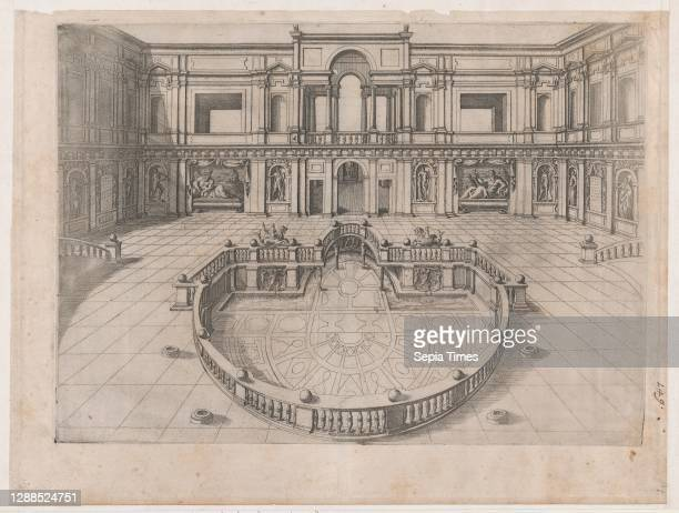 Speculum Romanae Magnificentiae: Great Hall within the Villa of Pope Julius, 16th century, Engraving, sheet: 13 5/8 x 18 1/8 in. , Prints, Anonymous.