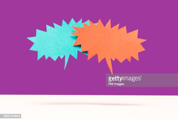 speech bubble confrontation - confirmation stock pictures, royalty-free photos & images
