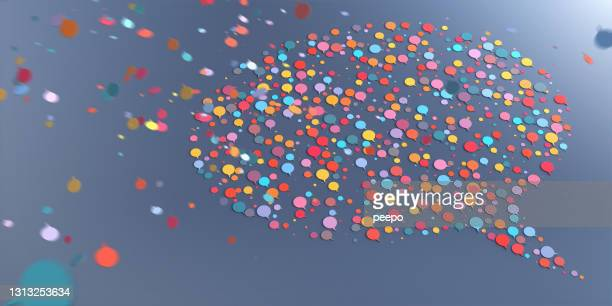 a speech bubble icon shape made from lots of smaller multi-coloured speech bubbles falling from above - speech stock pictures, royalty-free photos & images