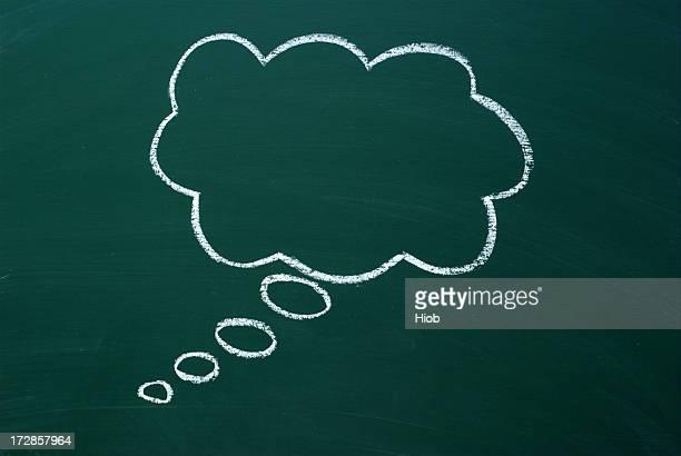 speech bubble on a blackboard