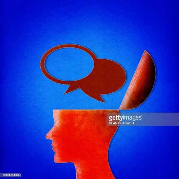 speech bubbles head illustration - bewustwording over geestelijke gezondheid stockfoto's en -beelden