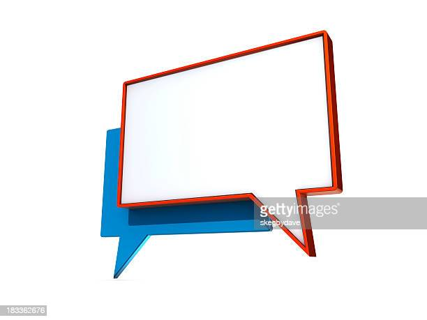 Speech bubbles in red and blue