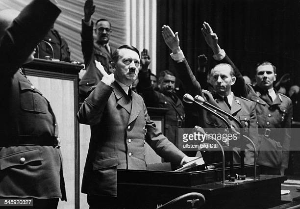 Speech of Adolf Hitler to the Reichstag inthe Kroll Opera in Berlin after the Declaration of war to the USA in addition to the lectern to the right...