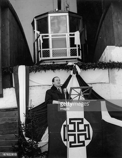 Speech of Dr Guido Schmidt at the opening of the GalzigBahn in St Anton Vorarlberg Austria Photograph December 19th 1937 Festansprache von Dr Guido...