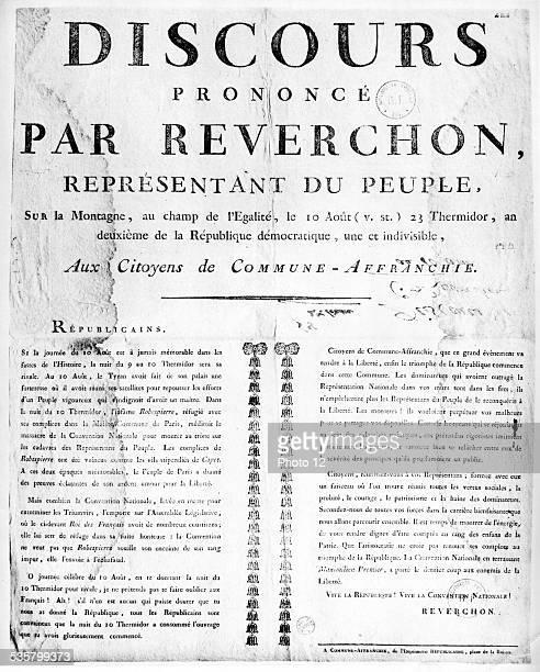 Speech of Reverchon representative of the people August 10 1794