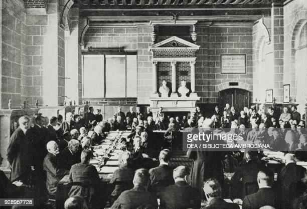 Speech of the Austrian Chancellor Karl Renner during the June 2 ceremony in the Stone age Hall of the Chateau de SaintGermainEnLaye France from...