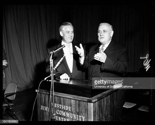 Speech Westside Jewish Community Center 23 May 1954 Senator Alexander WileyMax W Bay president Jewish Centers Association of Los AngelesMrs Alexander...