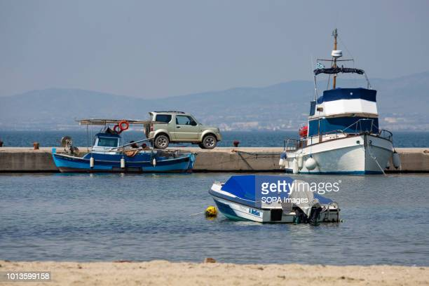 A speed boat is seen anchored at beach Daily life in Perea a beach town near Thessaloniki just 5 minutes from the airport and 15 from Thessaloniki...