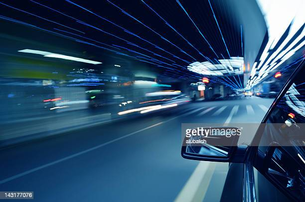 speed in urban scene - rear view mirror stock pictures, royalty-free photos & images