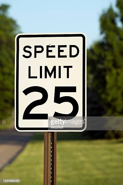 speed limit 25 - speed limit sign stock photos and pictures