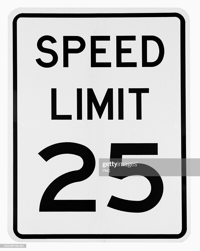 speed limit 25 road sign ストックフォト getty images