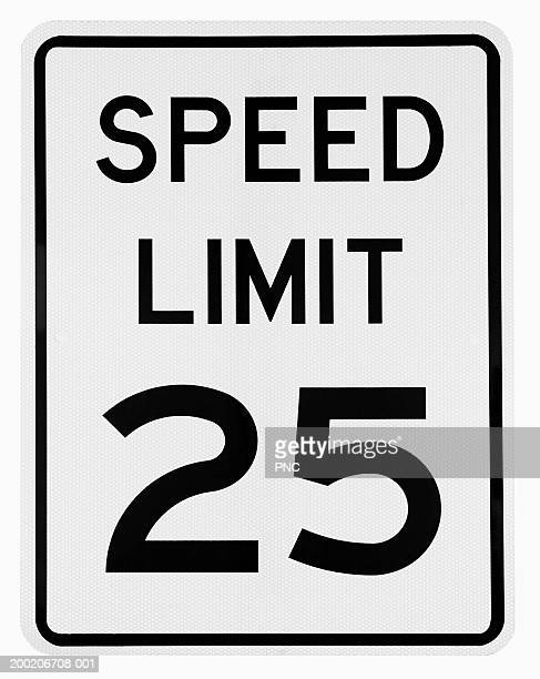 'speed limit 25' road sign - speed limit sign stock photos and pictures