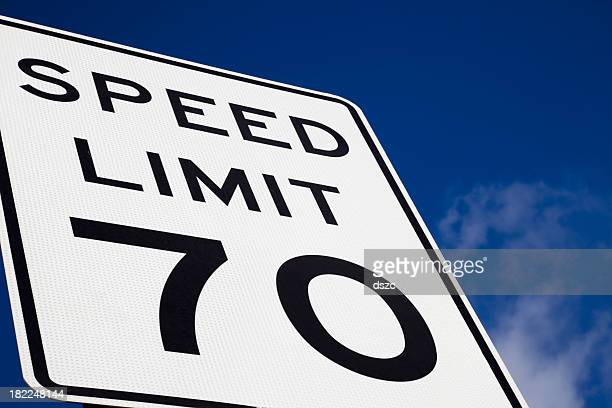 speed limit 70 highway sign blue sky copy space - speed limit sign stock photos and pictures